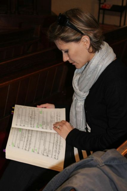 Looking through my La Boheme score before music rehearsals, June 2013