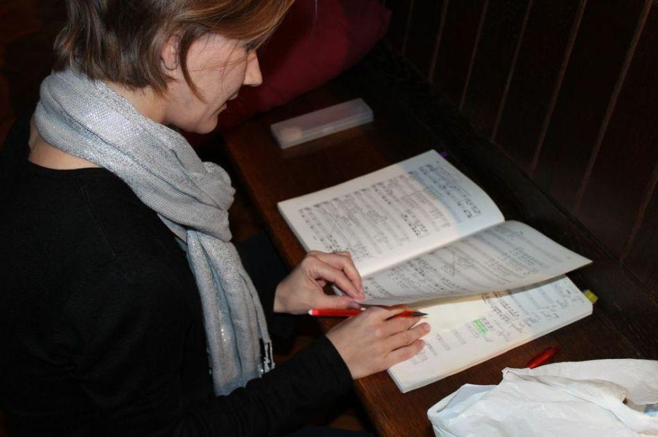 More score checking ahead of music call, La Boheme rehearsals, June 2013